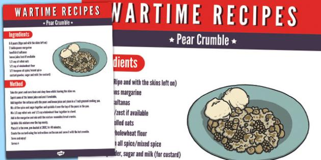 Wartime Pear Crumble Recipe - wartime, recipe, pear crumble