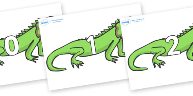 Numbers 0-31 on Iguanas - 0-31, foundation stage numeracy, Number recognition, Number flashcards, counting, number frieze, Display numbers, number posters