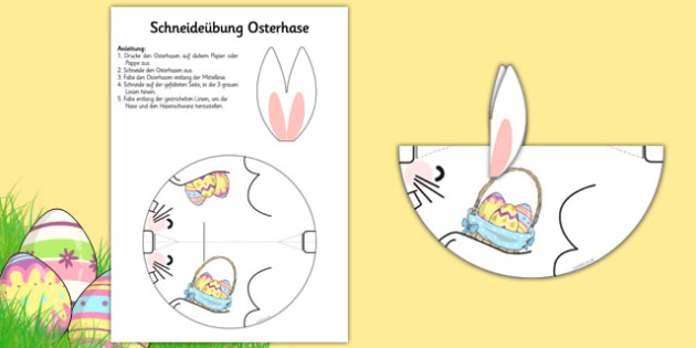 Schneideübung Osterhase Cutting Skills Easter Bunny German - german, easter, bunny, cutting, cut, cutout