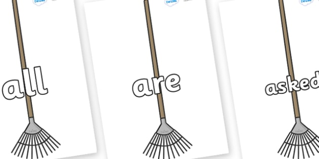 Tricky Words on Garden Rakes - Tricky words, DfES Letters and Sounds, Letters and sounds, display, words