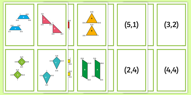 2D Shape Coordinate Translation Matching Cards - Position and Direction, coordinates, translation, congruent, congruence
