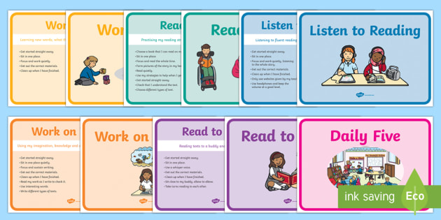 Daily Five Display Posters - NZ Literacy Resources, Daily 5, Literacy programme, reading rotations, Daily 5 stations, Daily Five