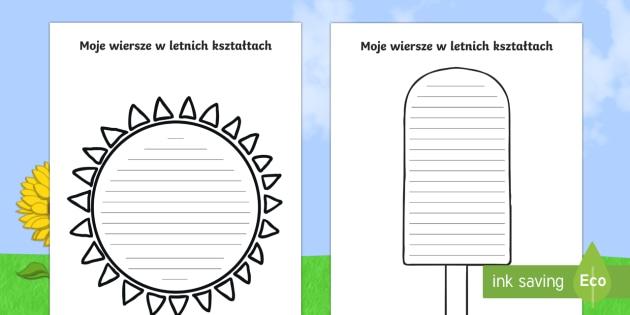 Szablony Moje Wiersze W Letnich Kształtach Lato Pory