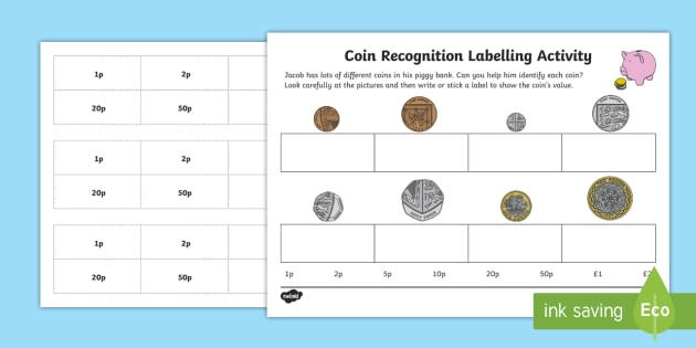 Coin Recognition Labelling Worksheet - EYFS, Early Years ...