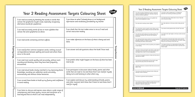 2014 Curriculum Y2 English Reading Assessment Targets Colouring Sheet