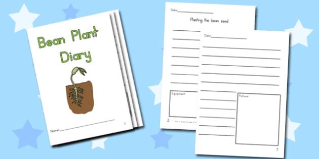 Bean Plant Diary Writing Frame - australia, bean, plant, diary