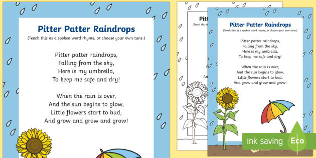 Pitter Patter Raindrops Song Lyrics - Twinkl