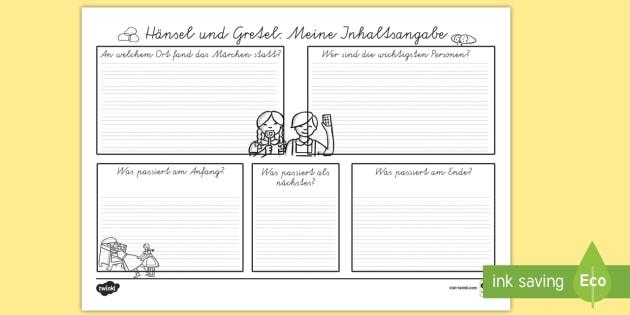 Hänsel und Gretel Inhaltsangabe Schreibvorlage - Hänsel und Gretel, Märchen, Inhaltsangabe, Schreibvorlage,German