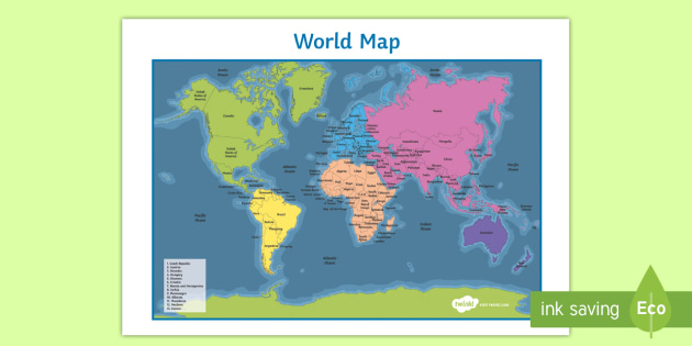 Name And Locate The Worlds Seven Continents And Page - World map continents and oceans
