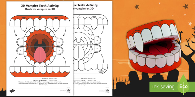 Simple 3D Halloween Vampire Teeth Activity Paper Craft English/French - halloween, teeth, vampire,