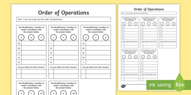 Order Of Operations Bodmas Bidmas Worksheet Activity Sheet