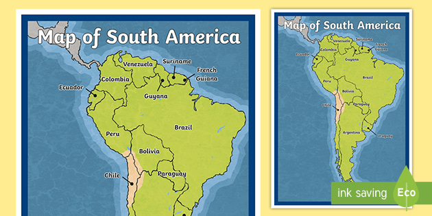 Map of South America - map, south, america, continent, countries