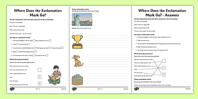 Exclamation Mark Worksheets - Sentences, full stop, question mark, exclamation mark, punctuation