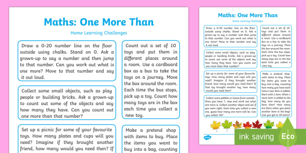 EYFS Maths: One More Than Home Learning Challenges - EYFS Number