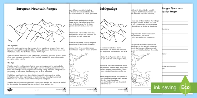european mountain ranges reading comprehension activity. Black Bedroom Furniture Sets. Home Design Ideas