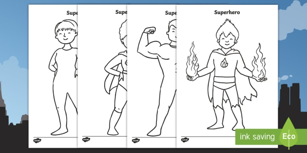 superhero template worksheet activity sheet cut out