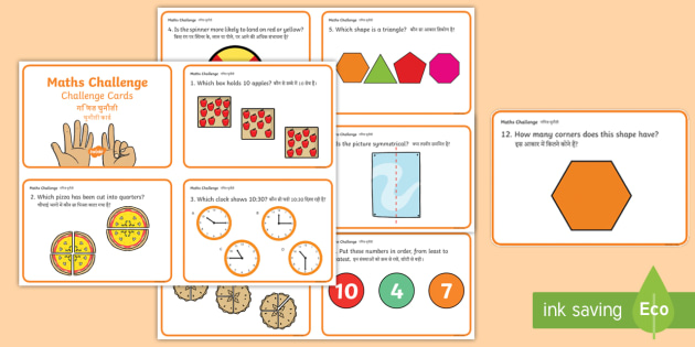NEW * Year 1 Maths Challenge Cards English/Hindi - EAL