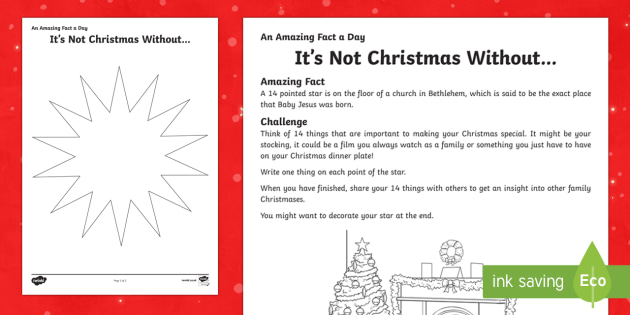Amazing Fact a Day KS2 Countdown to Christmas Day 25 Its not Christmas without Worksheet / Activity Sheet - Amazing Fact Of The Day, worksheet / activity sheets, powerpoint, starter, morning activity, December, Christmas