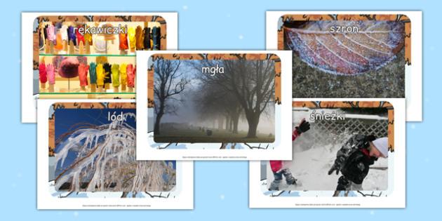 Materiały ze zdjęciami na gazetkę Zima po polsku - ubrania
