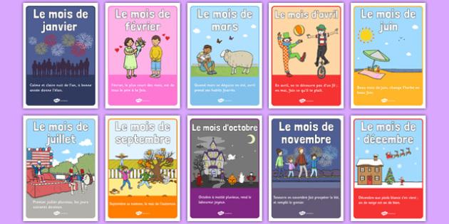 Posters des dictons des mois de l'année - french, posters, display, proverbs, months