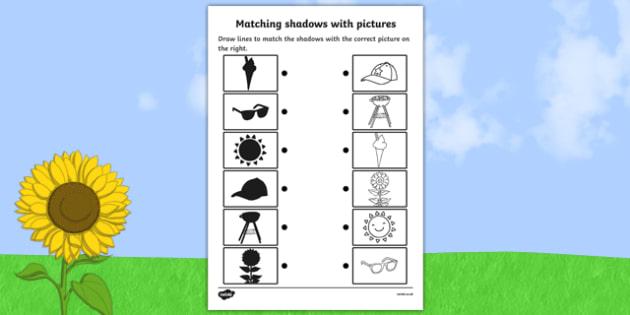 Summer Shadow Matching Sheet - shadows, silhouettes, match