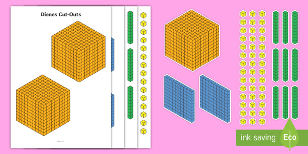 Dienes Cut-Outs - Dienes, base ten, place value, number system, hundreds, tens, units, ones, fractions, decimals