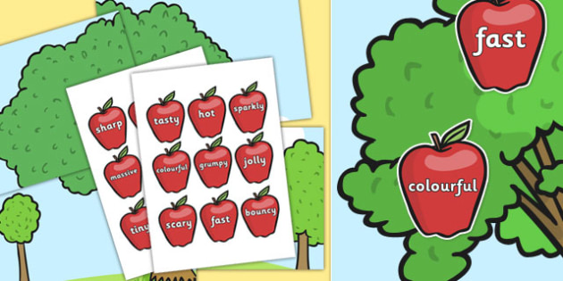 WOW Words on Red Apples and Large Display Tree - wow words