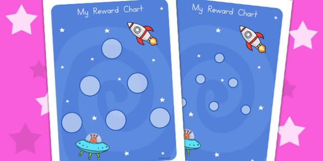 Space Large Sticker Reward Chart - rewards, charts, stickers