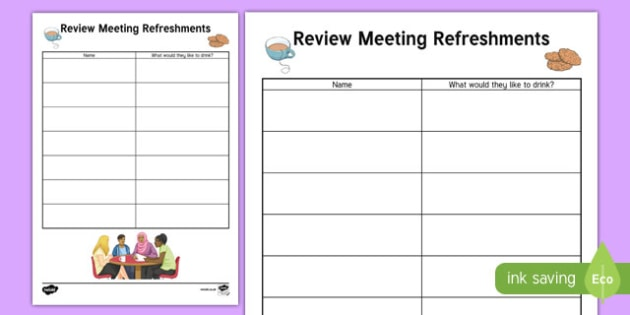 Person Centred Review Refreshment List - person centred review, annual, meeting, parents, refreshment list