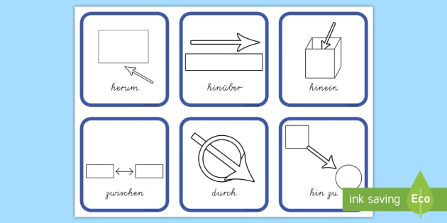 Richtungen Präpositionen Wortschatz: Wort und Bildkarten - Richtungen Präpositionen Wortschatz: Wort- und Bildkarten, Position, Lage, Stellung, Mathe, Deutsch