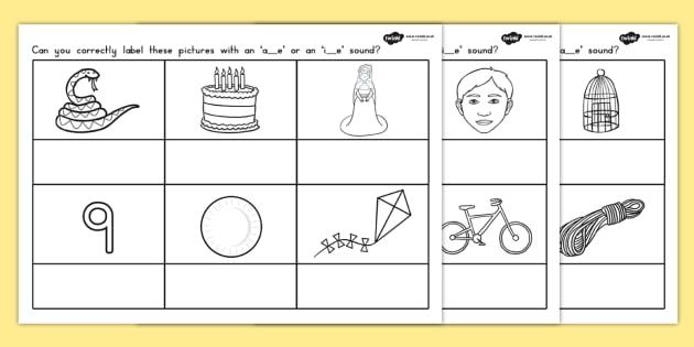 AE or IE Split Digraph Worksheet - split diagraph, literacy