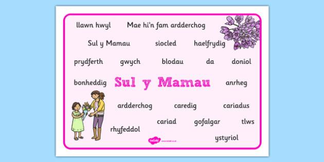Mat Geiriau Sul Y Mamau - Mother's Day, mum, family, celebrations, sul y mammau, sul y mamau, Mother's Day, mother's day, sul y mamu, welsh, Welsh