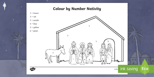 Nativity Colour By Numbers - nativity, colour, numbers, colouring