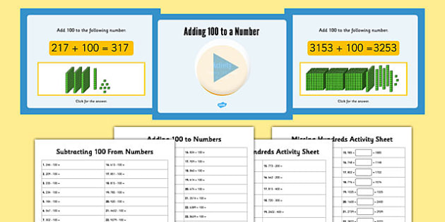Adding and Subtracting 100 Teaching Pack - adding, subtracting, 100, teaching, pack
