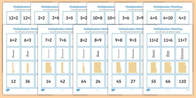 2 to 12 Times Table Multiplication Matching Puzzle Pack - times table, multiplication, matching, puzzle, activity, pack