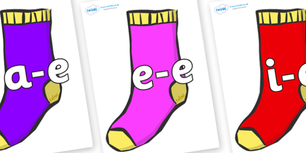 Modifying E Letters on Socks - Modifying E, letters, modify, Phase 5, Phase five, alternative spellings for phonemes, DfES letters and Sounds