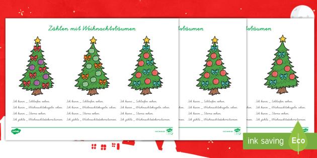Zählen mit Weihnachtsbäumen Arbeitsblätter - Weihnachten