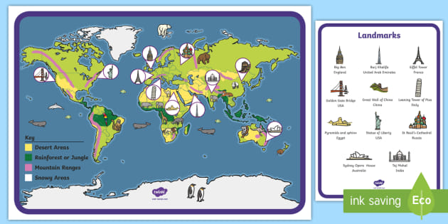 Illustrated World Map with Animals and Landmarks Display Poster