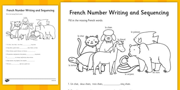 French Number Sequences Worksheet france languages EAL – Number Sequences Worksheet