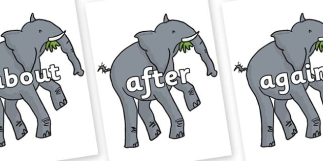 KS1 Keywords on Trunky The Elephant to Support Teaching on The Enormous Crocodile - KS1, CLL, Communication language and literacy, Display, Key words, high frequency words, foundation stage literacy, DfES Letters and Sounds, Letters and Sounds, spell