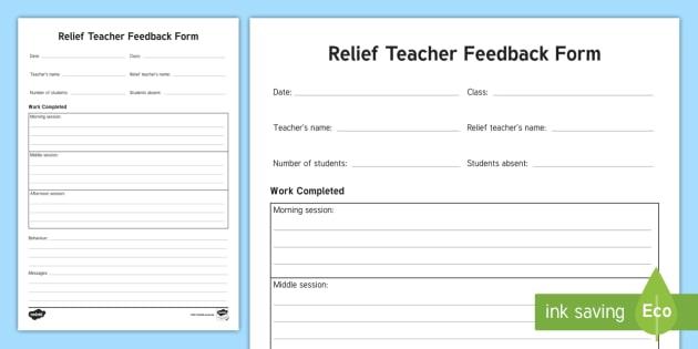 casual teacher feedback form  Relief Teacher Feedback Form - TRT, Temporary Relief Teacher ...