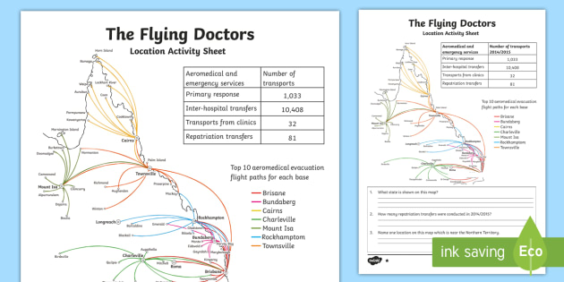 The Flying Doctors: Location  Activity Sheet - The Flying Doctors, medical, RFDS, The Royal Flying Doctors, aeromedical,Australia