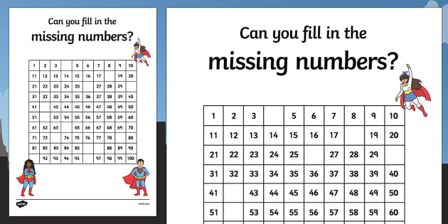 Superhero Themed Missing Numbers 100 Square Worksheet