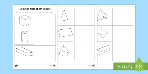 3D Shape Nets PDF Worksheet - Drawing Shape Nets