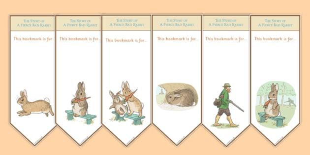 Beatrix Potter - The Story of a Fierce Bad Rabbit Editable Bookmarks - beatrix potter, fierce, bad, rabbit