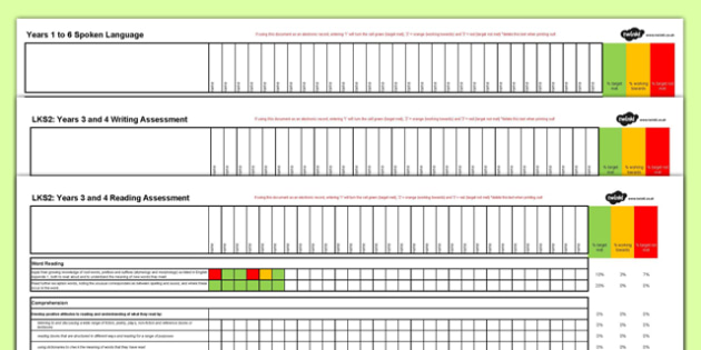 New Curriculum Year 3 Reading Writing and Spoken Language Assessment Spreadsheet - new curriculum, year 3, reading, writing, spoken language, assessment