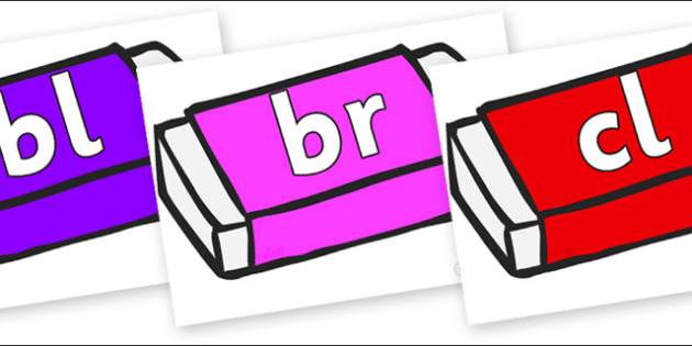 Initial Letter Blends on Erasers - Initial Letters, initial letter, letter blend, letter blends, consonant, consonants, digraph, trigraph, literacy, alphabet, letters, foundation stage literacy