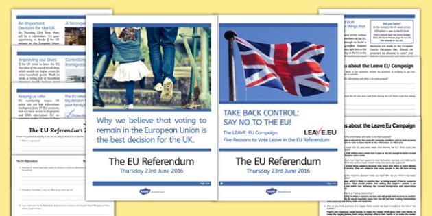 EU Referendum 2016 Differentiated Reading Comprehension Booklet - EU, referendum , vote, ballot, Thursday 23rd June 2016, European Union, pros, cons, arguments, debate, leaflet, reading comprehension, sheets, inference, analysis