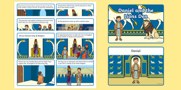 Daniel And The Lions Den Story Sequencing (4 per A4) - Daniel and the Lions, Daniel, Lions, lion pit, sequencing, story sequencing, story resources, A4, cards, Babylon, King Darius, governors, God, pray, den, bible story, bible