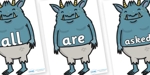Tricky Words on Trolls - Tricky words, DfES Letters and Sounds, Letters and sounds, display, words